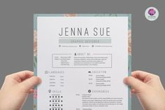 Super chic , modern resume template package : CV template , cover letter template , reference letter template