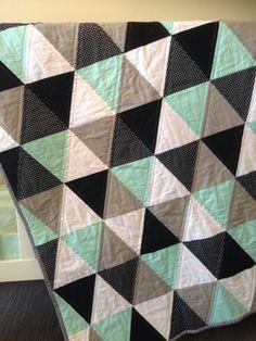 Geometric Mint Triangle Cot Quilt Mint Grey Black by RosaleesRoom