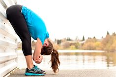 five post-run poses: folding at the wall
