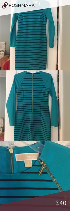 MICHAEL Michael Kors Striped Dress Long sleeve crew neck dress. Real color with navy stripes and gold zipper details. Perfect for the office!  Only worn a few times. MICHAEL Michael Kors Dresses Mini