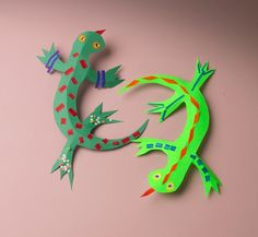 Creatures of the rain forest are beautifully colored. Children's imaginations soar as they create colorful lizards and other wild creatures.