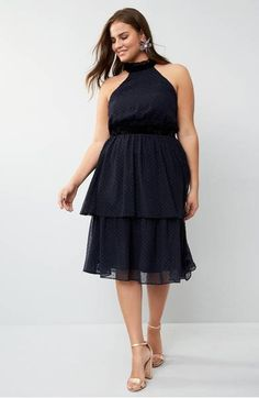 Captivate in a cocktail dress with a halter-style bodice and floaty tiers of twinkling, Swiss-dotted chiffon enriched with velvet and ruffled trim. Prom Dresses, Formal Dresses, Plus Size Dresses, Night Out, Bodice, Chiffon, Cocktail, Nordstrom, Velvet