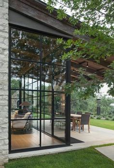 Black framed glass room