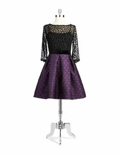 Women's Apparel | Dresses | Polka Dot Fit and Flare Dress | Lord and Taylor