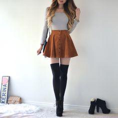 Lisa Button Skirt - Caramel