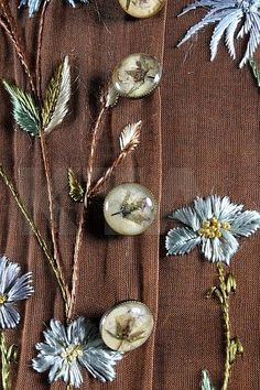 Detail of the Alexander McQueen dress for Givenchy, Lesage embroidery of blossom and foliage, real flower embedded buttons. Couture Embroidery, Embroidery Applique, Beaded Embroidery, Embroidery Designs, Tambour Beading, Art Du Fil, Alexander Mcqueen Dresses, Textiles, Art Textile