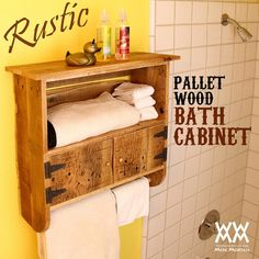 DIY FOR THE BATHROOM! I love the way this pallet-wood bath cabinet turned out. Free video and plans!