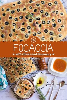 A rustic yeast-based bread recipe from Italy. Its the Focaccia al rosmarino - Focaccia bread with rosemary and olives. Focaccia Bread Recipe, Yeast Bread Recipes, Flatbread Recipes, Eggless Baking, Savoury Baking, Delicious Vegan Recipes, Vegetarian Recipes, Vegan Meals, No Carb Bread