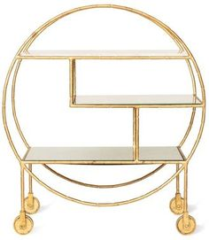 Oliver Bonas Luxe Round Bamboo Drinks Trolley