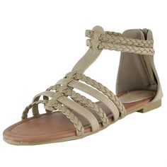 Womens Flat Sandals Braided Strappy Gladiator Casual Shoes Taupe ** Find out more about the great product at the image link.