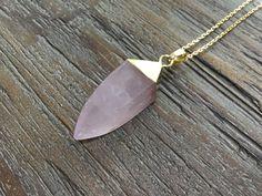 Rose Quartz Point Gold Pendant Necklace/Light pink/Polished