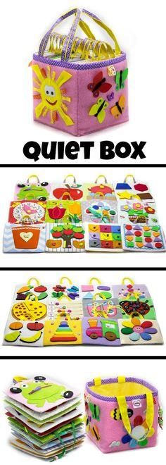 Quiet Box #felt #montessori #baby #toddler #preschool #preschoolers #daycare #quietbook #affiliate