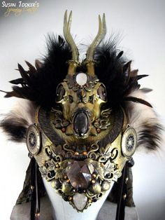 Herne's Bride. Roe Deer Skull Headdress. Private Collection. Created by Susan Tooker. www.spinningcastlestudios.com