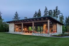This modern garden pavilion draws inspiration from the Pacific Northwest, local materials, and the vernacular stone and timber structures built across the country in the by the Civilian Conservation Corps. Modern Architecture House, Modern House Design, Architecture Design, Chinese Architecture, Futuristic Architecture, Built In Bbq, Built In Seating, Casas Containers, Garden Pavilion