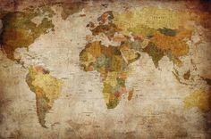 World map photo wallpaper - vintage retro motif - XXL world map mural - wall decoration