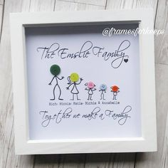 Button Art On Canvas, Kids Canvas Art, Personalised Frames, Handmade Frames, Stick Family, Family Family, Homemade Gifts, Diy Gifts, Button Family Picture