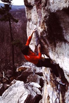 """The late Jack Mileski copping in quick rest on the """"jug"""" between the two bouldery cruxes of Clairvoyant (5.13b) at the Gunks. Photo provided by and property of Jeff Gruenberg. From the Rock and Snow BLOG"""