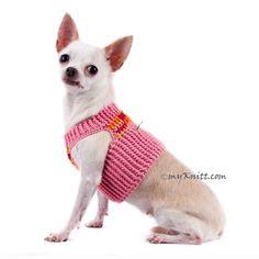 Peach Dog Harness Pink Chihuahua Collars Cotton Handmade