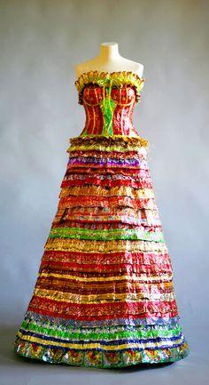 """Virpi Vesanen-Laukkanen ~ """"Sweetie"""" (2007) Candy wrapper dress *Finnish! Karamellipaperit, paperimassa, tekstiili, ompelu, liimaus, luonnollinen koko"""" via Harakka"""