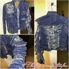 #shredded Levis Jacket...#destroyeddenim #shredded Levis Jacket...#destroyeddenim jacket with ripped sleeve!! Very unique and bold!! Levi's Jackets & Coats Jean Jackets