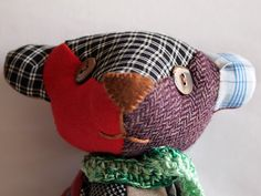 SPRING SALE 15 Fabric bear OOAK patchwork Once upon a by mcousinho, €18.00