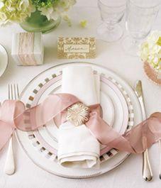 #indyspire13 Soft pink wedding place setting inspiration.