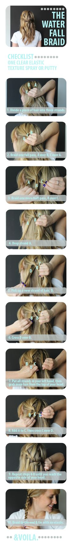 waterfall braid tutorial, @Sarah Chintomby Weinle, you should try this on Princess Maddie