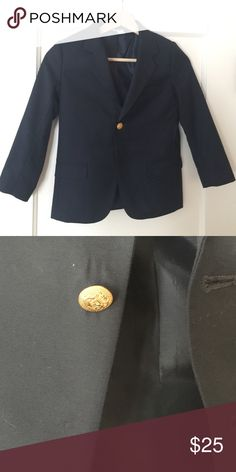 Boys size 6 navy blazer Boys size 6 navy blazer.  Gold button missing as shown.  Reflected in price.  Otherwise in perfect condition. Hartstrings Jackets & Coats Blazers