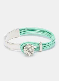 Mint & Crystal Leather Bracelet
