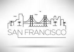 Linear San Francisco Skyline available at Creative Market