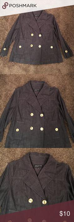 JONES NEW YORK BLAZER 100% cotton dark blue with gold buttons. Only worn a few times. In excellent condition. Jones New York Jackets & Coats Blazers