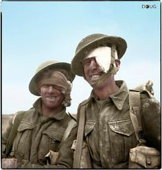 Two wounded soldiers from the 6th Durham Light Infantry, 50th (Northumbrian) Infantry Division, XXX Corps., during the Mareth line battle, 22-24 March 1943.