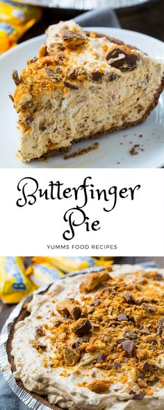 Butterfinger Pie This cool and creamy Butterfinger Pie is the stuff goals are ma., Desserts, Butterfinger Pie This cool and creamy Butterfinger Pie is the stuff goals are made from. It's a no-bake dessert that's so clean to make. perfect f. Desserts Keto, Sweet Desserts, No Bake Desserts, Just Desserts, Delicious Desserts, Dessert Recipes, Yummy Food, Low Carb Dessert, Pie Dessert