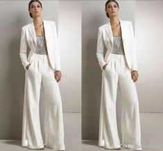 2018 New Bling Sequins Ivory White Pants Suits Mother Of The Bride Dresses Formal Chiffon Tuxedos Women Party Wear New Fashion Modest Formal Dresses For Moms Joan Rivers Suit From Hxhdress, $125.73  Dhgate.Com