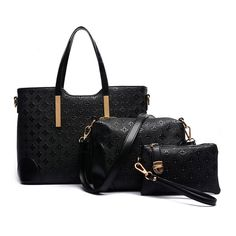 Diamond Patterned Handbags in Black (3pc-set), 49% discount @ PatPat Mom Baby Shopping App