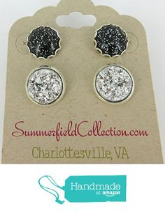 Duo Stud Earrings - Black Glitter and Silver Faux Druzy Stone 12mm from Summerfield Collection https://www.amazon.com/dp/B01MSECJAK/ref=hnd_sw_r_pi_dp_ZhnLybGVNEN3E #handmadeatamazon