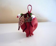 2015 charm - dark red ceramic pomegranate with metal leaves, glass jewels, velvet cord