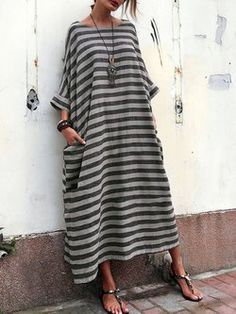 Crew Neck Women Casual Dress Cocoon Going out 3/4 Sleeve Casual Printed Stripes Dress