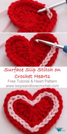 Easy Crochet Hearts Loops & Love Crochet This free crochet heart pattern includes a step-by-step tutorial for surface slip stitching around hearts, as well as a tutorial for making the hearts too! Crochet Simple, Love Crochet, Crochet Gifts, Crochet Flowers, Crochet Hearts, Crochet 101, Double Crochet, Free Heart Crochet Pattern, Crochet Motifs