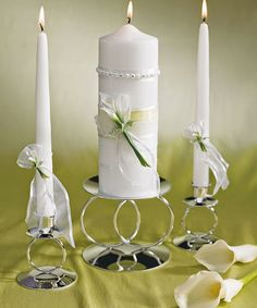 Calla Lily Unity Candle plus many more unique unity candles in a variety of styles to match your wedding theme or colors. Choose from ivory, white, black and many more colored unity candles Floating Candles Wedding, Floating Candle Centerpieces, Hanging Candles, Pillar Candles, Flameless Candles, Unity Candle Holder, Candle Set, Candle Magic, Unity Candle Alternatives