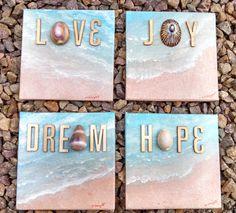 Mini Canvas Original Painting Ocean Shells Sand by SongsInColor