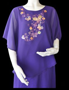 Purple Poncho top with Butterfly Pattern. $39 Poncho Tops, Butterfly Pattern, Mother Of The Bride, Daughter, Plus Size, Gowns, Elegant, Formal, Purple