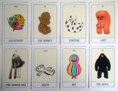 Illustrated Tarot cards from Pictoplasma –Artists Clockwise from top left: Juan Molinet, Julia Schonlau, Alexander Nathan Soto, Jun seo Hahm, Fons Schiedon, Gaston Caba, Motomichi Nakamura.