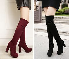 - Stylish thigh high trendy riding heel boots for the modern woman - Perfect boots for any occasion - Comfortable breathable upper - Made from velvet - 55 cm shoe height - 11 cm heel height - Availabl Stylish Boots For Women, Cute Boots, Platform Boots, Character Outfits, Dress With Boots, Thigh Highs, Knee High Boots, Heeled Boots, Fashion Shoes