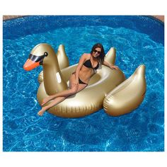 Cheap pool float lounge, Buy Quality gold swan float directly from China swan float Suppliers: Giant Gold Swan Float Inflatable Flamingo Ride-On Pool Floating Lounge For Adults Summer Water Toys Swimming Ring Giant Inflatable Unicorn, Inflatable Float, Floating Lounge, Floating In Water, Swan Float, Rainbow Water, Pool Rafts, Summer Pool Party, Summer Fun