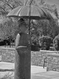 """Rainman"" statue by Miles Metzger, Geneva, Illinois, USA"