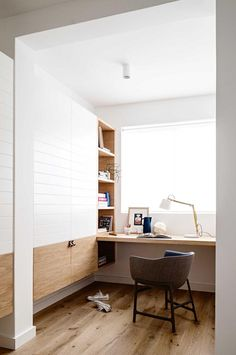 """A joiner can maximise the use of a built-in wardrobe. """"I've built wardrobes with shelves on one side and a desk on the other,"""" says Barry. """"When the doors are closed it looks like a wardrobe – but with the doors open, it's a workspace that doesn't take up any extra space."""" This design by Decus is another take."""