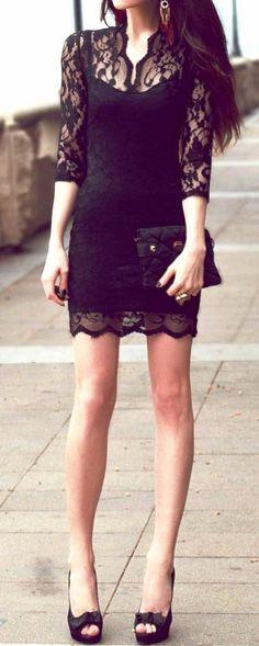 Elegant Black Lace Dress