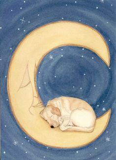 Golden yellow labrador (lab) sleeping on moon / Lynch signed folk art print by watercolorqueen on Etsy