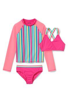 60e5f24c9c Girls Rash Guard Bikini 3 Piece Set from Lands' End Girls Swim Shirts,  Toddler